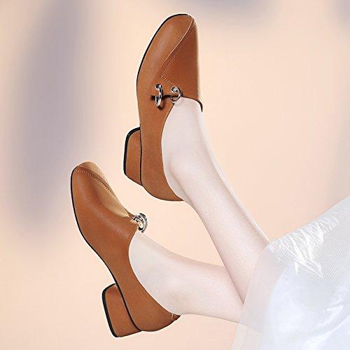 HGTYU-Autunno Square Glassati Spessa Con Mary Jane Le Scarpe Superficiale Bocca Ferro Di Cavallo Con Scarpe Da Lavoro brown
