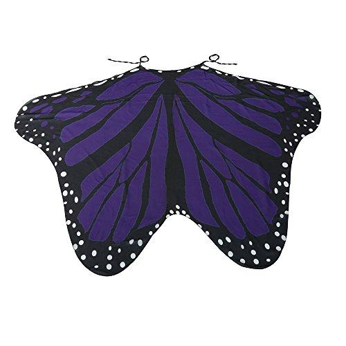 XXYsm Schmetterlingsflügel Kostüm Flügel Umhang Erwachsene Fee Damen Nymphe Schmetterling Pixie-Kostüm Violett 185 * ()