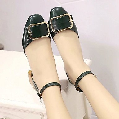 LvYuan Da donna Sandali PU (Poliuretano) Estate Footing Fibbia Heel di blocco Nero Giallo Verde 2,5 - 4,5 cm Green
