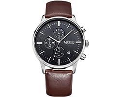 Megir Mens Quartz Watch, Chronograph Display and Leather Strap - 2011G-11