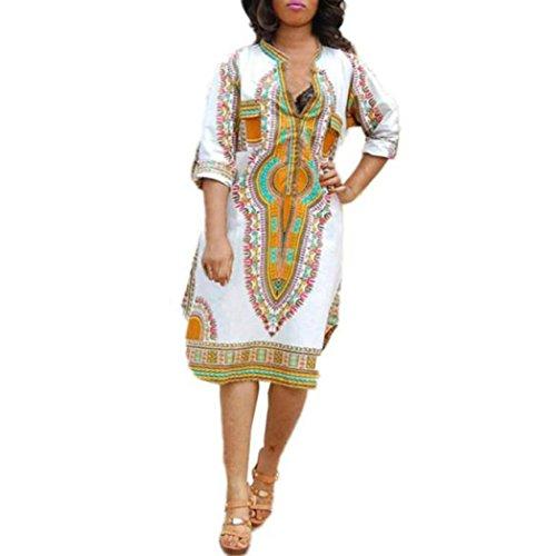 FEITONG Damen Sommer Beiläufige Tiefem V-Ausschnitt Traditionelle Afrikanische Druck Partei Kleider (M) (Ausschnitt Mesh-einsatz)