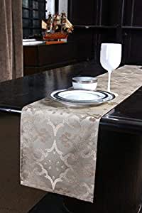 S9home 6 Seater Traditional Beige Table Runner 72x12 inches
