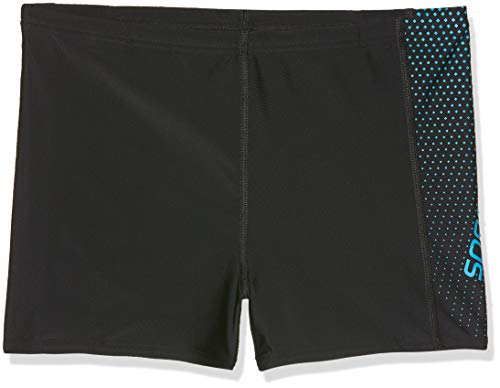 Speedo Gala Logo Panel Aqua, Bañador para Niños, Multicolor Black/Windsor Blue, 128 Talla fabricante...