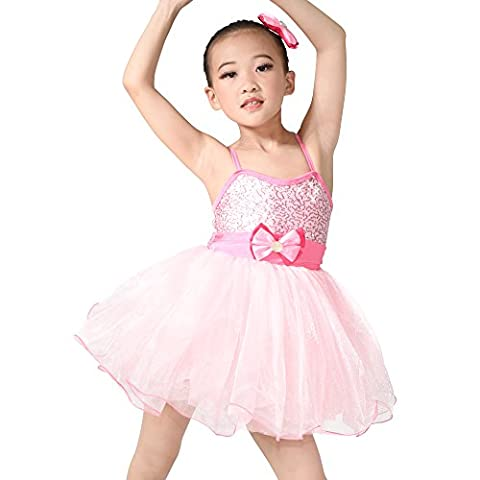 MiDee Camisole Bowknot Sequined Dance Costume Ballet Dress (LC, Pink) (Freestyle Disco-tanz Kostüme)