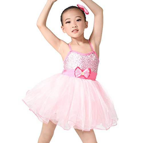 MiDee Camisole Bowknot Sequined Dance Costume Ballet Dress (LC, Pink)