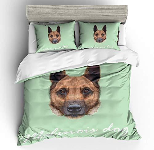JSDJSUIT Bettwäsche-Set MUSOLEI 3D Bettwäscheset Tier HundekopfbettlakenTwin Queen King, EU Single 2tlg