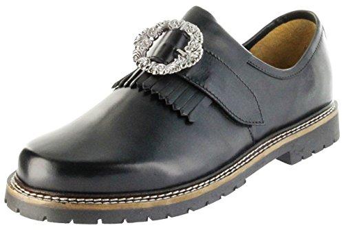 Bergheimer Trachtenschuhe Haferlschuhe Schwarz Leder Herren Schuhe Goisern, Größe:46, Farbe:Schwarz