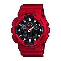 Casio G-Shock Casual Watch Analog-Digital Display Quartz for Men - GA-100B-4ADR, Red
