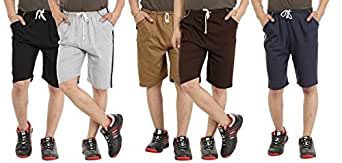 Zacharias Men's Cotton Shorts (Zach-shorts-blk-dgy-lgy-mbl-nvbl-XXL_MulticolorXX-Large)