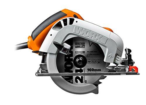 WORX WX425 Handkreissäge 1200W - zum Sägen von Holz, Aluminium & Stahl - präzise Gehrungsschnitte - Einstellbare Schnittwinkel & Parallelanschlag - 160mm Sägeblatt mit 24 Zähnen