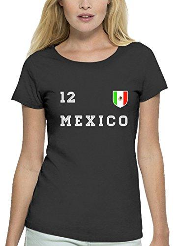 Mexico Fußball WM Fanfest Gruppen Premium Bio Baumwoll Damen Frauen T-Shirt Stanley Stella Trikot Mexiko, Größe: XL,Anthrazite