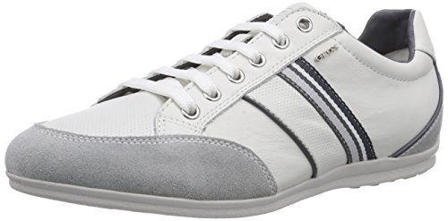 Geox U HOUSTON A, Low-Top Sneaker uomo, Bianco (Weiß (WHITEC1000)), 40