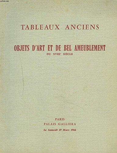 TABLEAUX ET DESSINS ANCIENS. OBJETS D'ART ET DE BEL AMEUBLEMENT PRICIPALEMENT DU XVIIIe SICECLE. PORCELAINES. BRONZES. PENDULES. SIEGES ET MEUBLES ESTAMPILLES DES MAITRES EBENISTES. AUBUSSON... VENTE