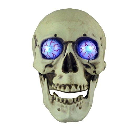 BESTOYARD Halloween Schädel Dekor Horror Schädel Kopf Leuchtende Augen Prop Halloween Skeleton Kopf Harz Schädel Kopf Ornament für Halloween Party Home Decor