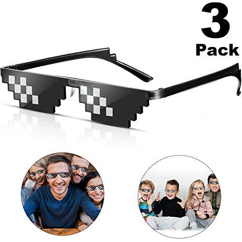 Frienda 3 Paar Pixel Sonnenbrille Thug Sonnenbrille Cool Thug Brille Kunststoff Pixel Sonnenbrille Party Zubehör für Kinder Erwachsene, Schwarz