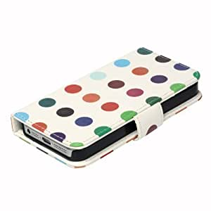 Neotechs® Stylish Retro Vintage Multi Coloured Spots Leather Wallet Case Cover for iPhone 5 & 5S
