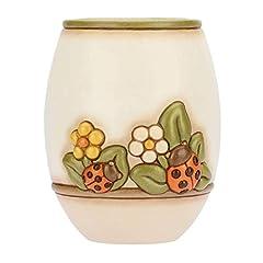 Idea Regalo - THUN® - Vaso Fiori da Interno Medio - Bianco con Fiori e Coccinella Portafortuna - Ceramica - Linea Country