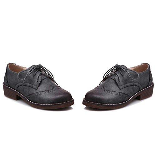 TAOFFEN Femmes Classique Richelieu Chaussures Grey