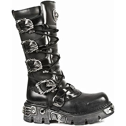 New Rock Metallic Negro Cuero Botas M.402-S1