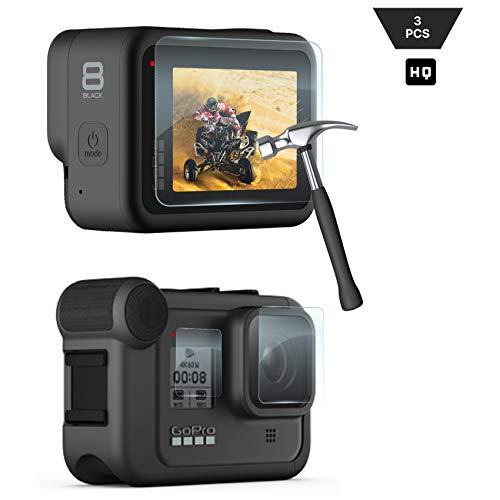 Lebama Schutzglas für GoPro Hero 8 Black Schutzfolie Zubehör Displayschutzfolie Displayschutz Premium Klar 9H Displayfolie Objektivschutz - 3 x Display Glas Folie für GoPro Hero 8