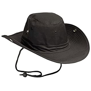 US Army outdoor bush hat with buttons Boonie Hat made of durable rip stop in many colors S-XL (L, Black)