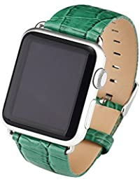Cuitan Durable Cuero Watch Band para 42mm Apple Watch iWatch, Cocodrilo Patrón con Adaptador Acero Hebilla Banda Muñeca Correa de Reloj Reemplazo Reloj Muñeca Band Watchband Strap Watchband para Apple Watch - Verde (No incluido Watch)