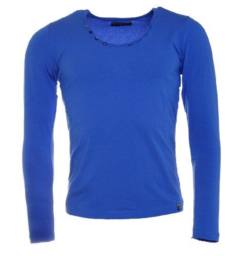 Redbridge Herren Longsleeve T-Shirt langarm Slimfit mit tiefem Rundhals R-1656 Blau