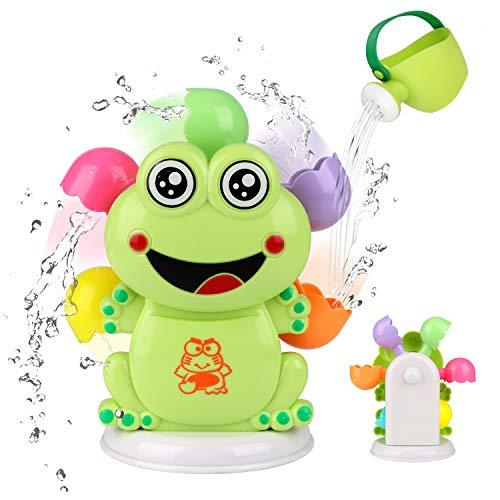 BBLIKE Badespielzeug, Frosch Windmühle mit Kinder Gießkanne für Babys 6-12 Monate für Badewanne, Schwimmbad, Strandspiel, 2 Stück Badespielzeug Set