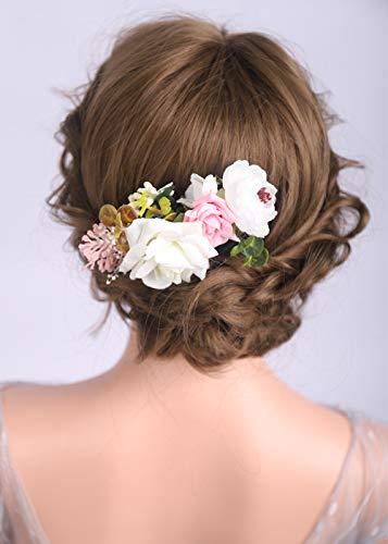 Deniferymakeup Blumenkrone rosa und weiß Kopfschmuck Brautschmuck Hochzeit Krone Geschenk für Frauen und Mädchen (Blush Pink Papier-blumen)