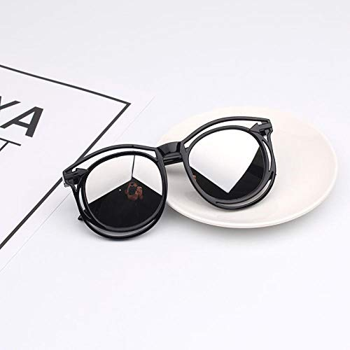 CYCY 2-9 Jahre alt Kinder Brille Sonnenbrille Jungen und Mädchen Sonnenbrille Anti-UV-Brille Baby-Sonnenbrille Flut Puder Rahmen lila, schwarzer Rahmen Silberne Linse Paket 4 einzelne Gläser nackt