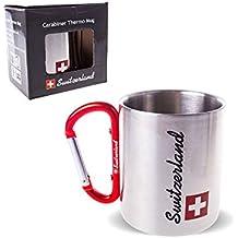 Double Paroi Acier Inoxydable Tasse thermo Mug Switzerland avec mousqueton 220ml