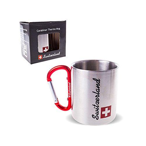 TopSpirit® Doppelwandige Edelstahl Tasse Thermobecher Switzerland mit Karabiner 180 ml
