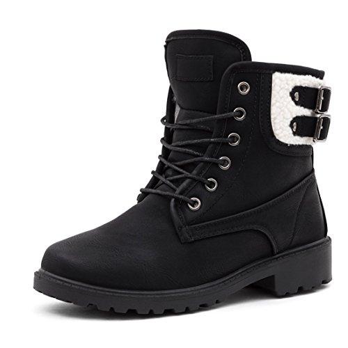 Marimo Damen Schnür Stiefel Stiefeletten Worker Boots in hochwertiger Lederoptik warm gefüttert Schwarz 37 (Timberland Fake Boots Für Frauen)