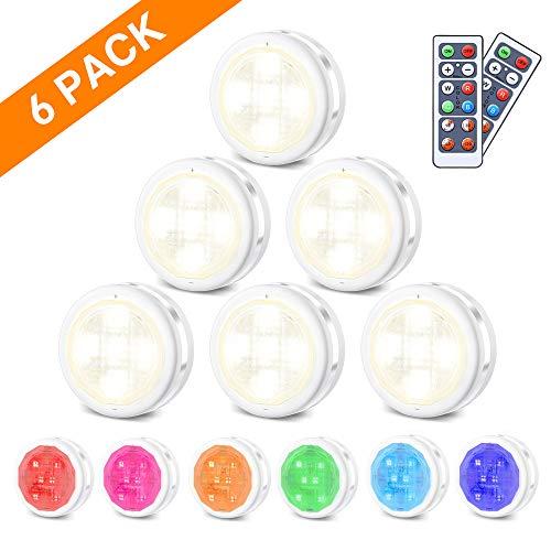 RGB Schrankleuchten LED Nachtlicht mit Fernbedienung 6er, Kabinett Beleuchtung 10 Dimmstufen 4 Timing-Funktion, Batteriebetrieben für Innendekoration Kleiderschrank Schrank Lichter, SOLMORE (Bilderrahmen öffnen 6)