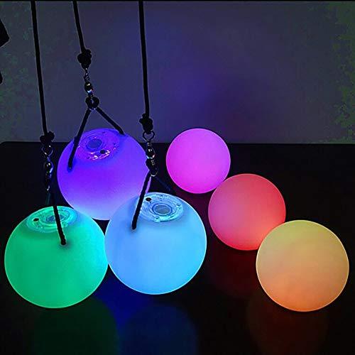 5starservices14 LED-POI-Jonglier-Bälle, Mehrfarbig, für professionelle Bauchtanz-Ebene, leuchtende Handrequisiten, Glow Flow Poi Spinning Practice, Batterie im Lieferumfang enthalten -