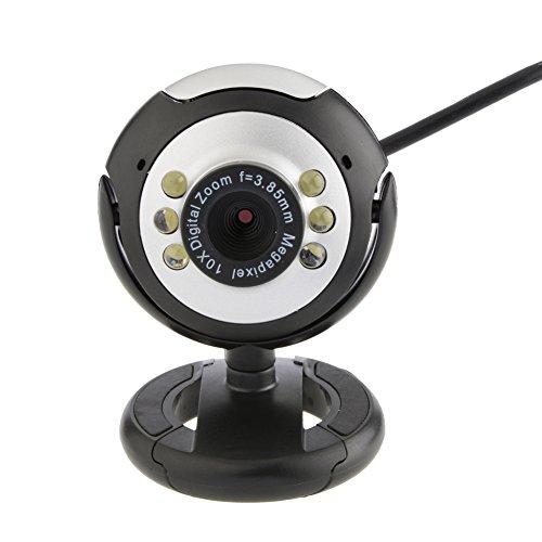 prettygood7 Webcam USB Camera HD 12.0 MP 6 LED avec Micro et Vision de Nuit pour PC de Bureau PC Camera de Voiture Audio Stéréo multimédia Système de vidéo Radio FM