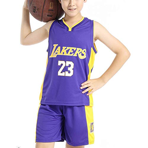 DEBND Kinder NBA Basketball Anzug - Sommer Basketball Uniform NBA Lakers #23 James Trikots Classic ärmelloses Top und Shorts