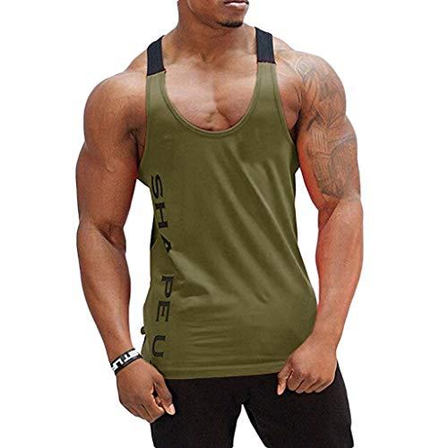 T-Shirts Tops für Herren,Sommer der Männer Ärmelloses Tank Top T-Shirt Bodybuilding Sport Fitness Weste,Slim Fit T-Shirts Bluse Streetwear Sweatshirts Sommerblusen - Männer Lustig Top Tank