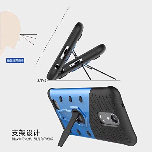 YHUISEN LG K10 2017 / LV5 Fall, Hybrid Tough Rugged Dual Layer Rüstung Schild Schützende Shockproof mit 360 Grad Einstellung Kickstand Case Cover für LG K10 2017 / LV5 ( Color : Blue ) Blue