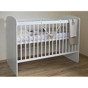 SOCOZY® BABY Gitterbett Babybett Gesunden Kinderbett Zahnschienen Hölzern Weiß Höhenverstellung der Matratze