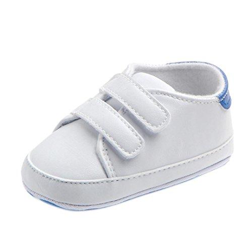 FNKDOR Baby Erste Schuhe Neugeborenen Lauflernschuhe Weiß Krabbelschuhe (12-18 Monate, Blau)