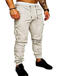 b319b383bd9 SOMTHRON Homme Ceinture élastique à long coton Jogging pantalons de  survêtement Plus la taille Mode Sport