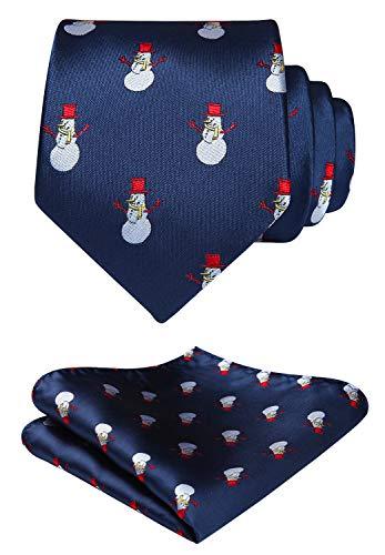 Hisdern Herren Weihnachten Krawatte Schneemann Woven Party Krawatte & Einstecktuch Set