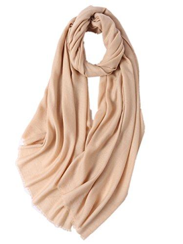 Prettystern - Damen XL size lang voluminös 100% Wolle einfarbig Twill pashmina stola kurze Fransen...
