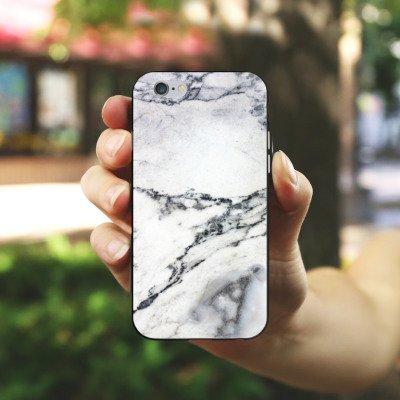 Apple iPhone X Silikon Hülle Case Schutzhülle Stein Marmor Marble Look Muster Silikon Case schwarz / weiß