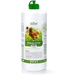 AniForte Milben-Stop Puder 1L in Stäube-Flasche, Naturprodukt für Geflügel gegen rote Vogelmilben und Schädlinge
