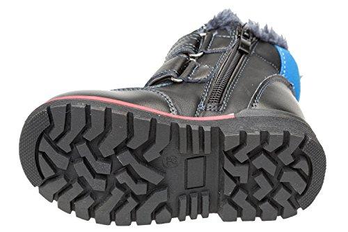 Bild von GIBRA® Winterstiefel für Kinder dick gefüttert, echtes Leder, mit Klettverschluss und seitlichem Reißverschluss, dunkelblau, Gr. 22-27