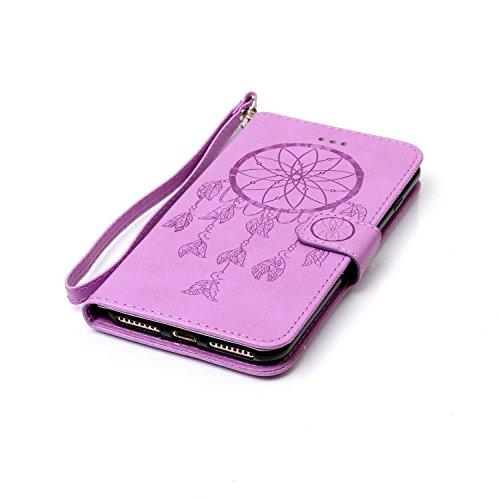 Roreikes Apple iphone 7 Plus Coque, iphone 7 Plus Case (5,5 Pouces), Dreamcatcher Slim Retro PU sac en cuir motif en relief en cuir style du livre étui de téléphone Case Flip Wallet avec sangle portab Pourpre