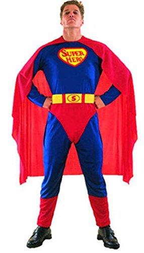 COSTUME DA SUPERMAN SUPERHERO ADULTO TAGLIA UNICA TRAVESTIMENTO DI CARNEVALE E HALLOWEEN (CONTROLLARE LE MISURE IN CENTIMETRI DELLA TAGLIA) SUPER MAN - HLLW