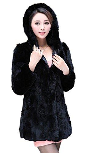 YR Lover Damen Winter Warm Echter Kanichen Pelz Jacken Verdicken Mit Kapuze Mantel Schwarz